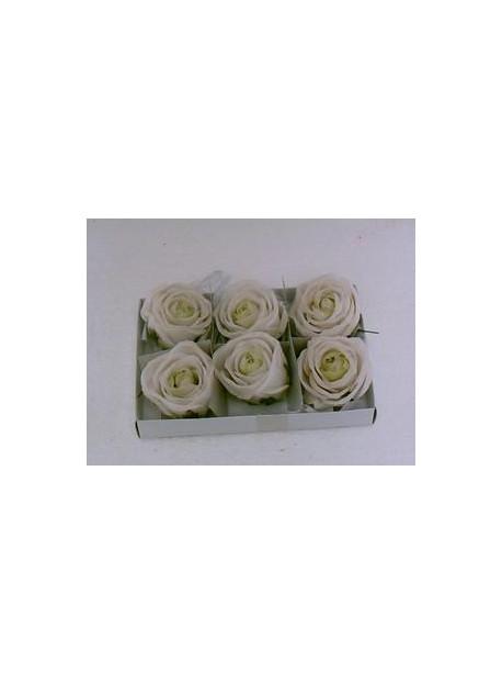 Boîte de 6 roses en cire blanche