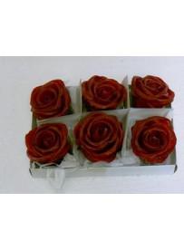 Boîte de 6 roses en cire rouge