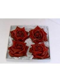 Boîte de 4 grandes roses en cire rouge