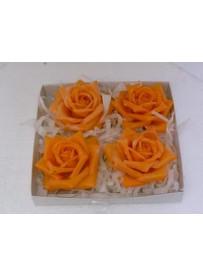 Boîte de 4 grandes roses en cire orange