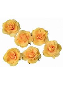 Set de 6 roses jaunes flottantes et adhésives