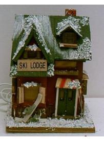 Maison de Montagne neige lumineuse 20X20X26 cm