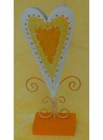 Vase coeur métal 11X24 cm orange