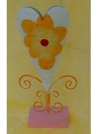Vase coeur métal 11X24 cm rose