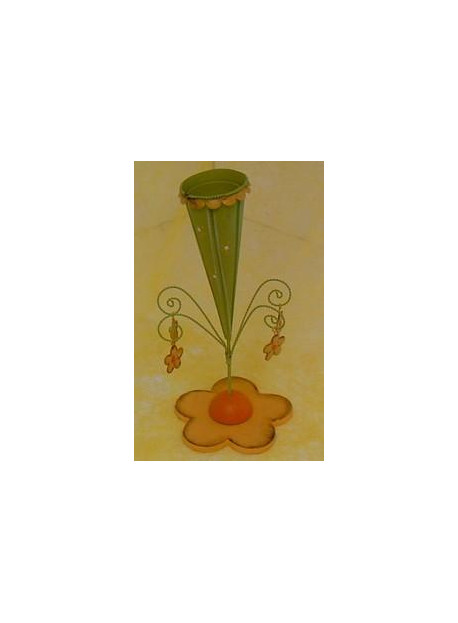 Bougeoir métal 5X22 cm vert