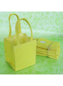 5 sacs en toile de jute jaune