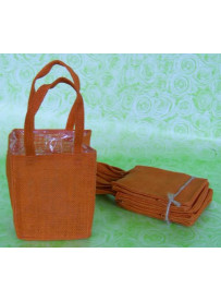 5 sacs en toile de jute orange