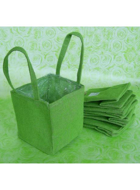 5 sacs en toile de jute vert