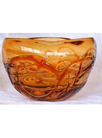 Vase rond orange 19.5X19.5X14 cm
