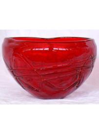 Vase rond rouge 14X14X8.5 cm