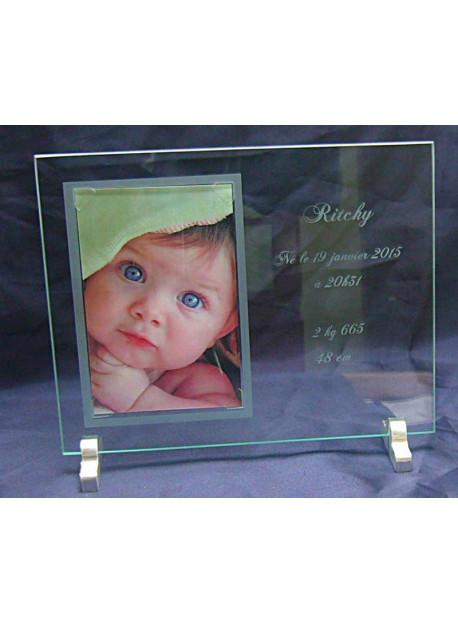 cadre photo en verre sur deux pieds en aluminium