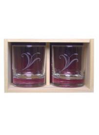 Coffret plumier en bois avec 2 verres whisky 30cl personnalisé