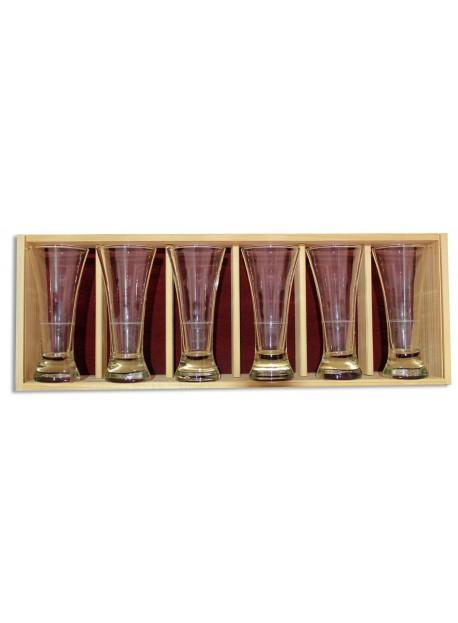 Coffret plumier en bois 6 verres à pastis 16 cl personnalisé