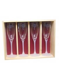 Coffret plumier en bois avec 4 flûtes cabernet 16cl personnalisé