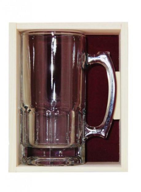 Coffret plumier en bois 1 chope à bière 1L  personnalisée