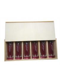 Coffret plumier en bois avec 6 verres de jus de fruit 33cl personnalisé