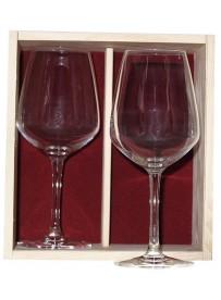 Coffret plumier en bois 2  verres à vin juliette 50cl personnalisé