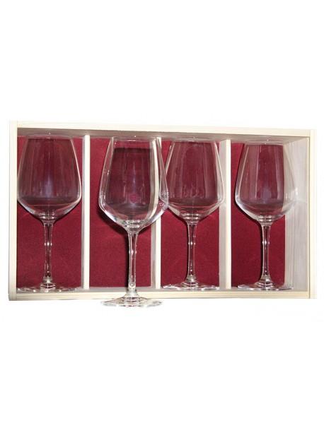 Coffret plumier en bois 4  verres à vin juliette 50cl personnalisé