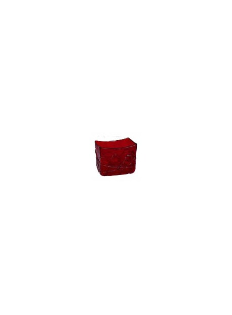 Vase rectangle rouge 12X8.5X10.5 cm