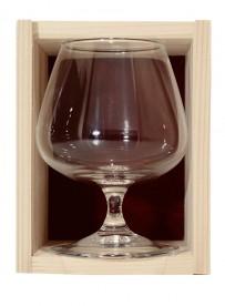 Coffret bois 1 verre  cognac 41 cl personnalisé