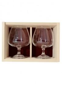 Coffret bois 2 verres  cognac 41 cl personnalisé
