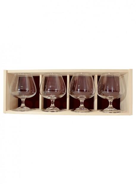 Coffret bois 4verres cognac 41cl