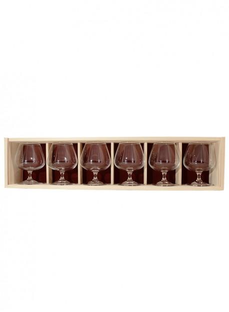 Coffret bois 6verres cognac 41cl