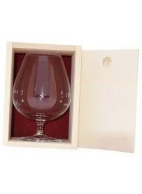 Coffret bois 1 verre  cognac 80 cl personnalisé