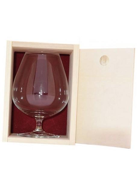 Coffret bois 1verres cognac 80cl