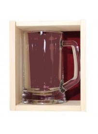Coffret plumier en bois 1 chope à bière 39,50 cl  personnalisée