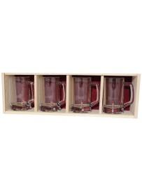 Coffret plumier en bois 4 chopes à bière 39,50 cl  personnalisée