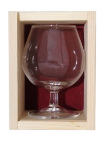 Coffret bois 1 verre  cognac 25 cl personnalisé