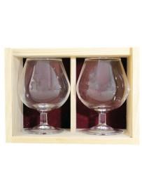 Coffret bois 2 verres  cognac 25 cl personnalisé