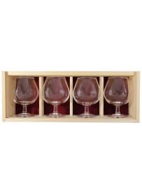 Coffret bois 4 verres  cognac 25 cl personnalisé