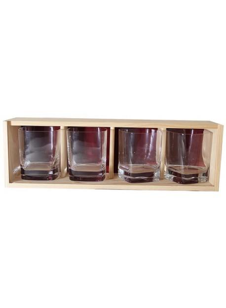 Coffret plumier bois 4 verres whisky strauss 29cl personnalisé
